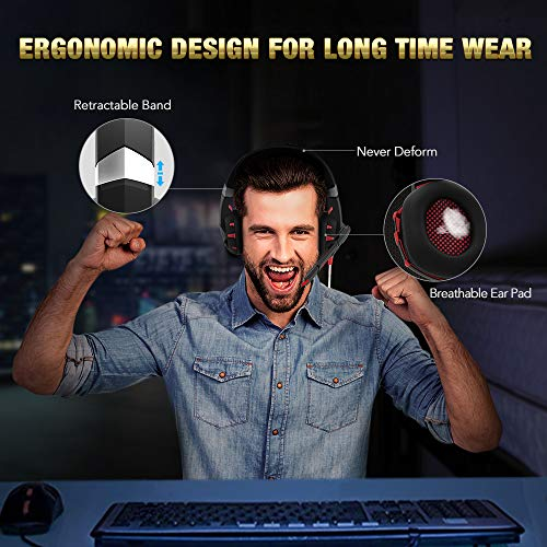 RUNMUS Gaming Headset Xbox One Headset with 7 1 Surround Sound Stereo, PS4  Headset with Noise Canceling Mic & LED Light, Compatible with PC, PS4, Xbox