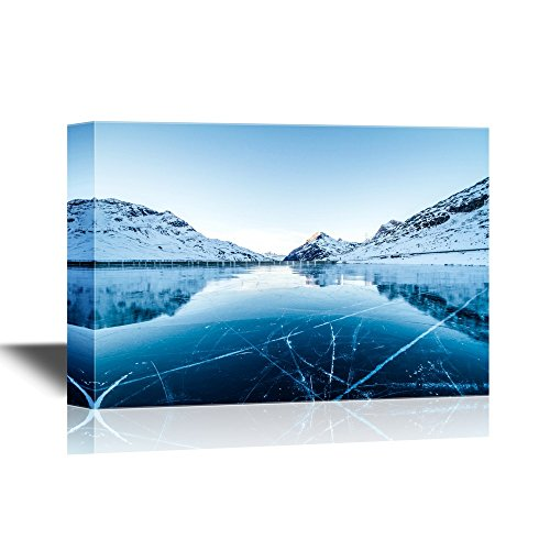 Winter Landscape with Calm Lake and Snow Covered Mountains Gallery