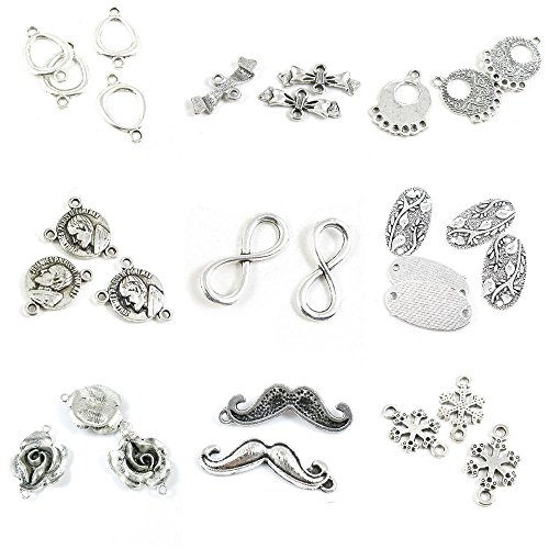 Snowflake Tag Charm - 28 Pieces Antique Silver Tone Jewelry Making Charms Snowflake Connector Mustache Beard Rose Flower Bird Tag 8 Shaped Infinity Benedictus Bishop Vine End Separator Bars Bowknot Bow Tie Bowtie Ring