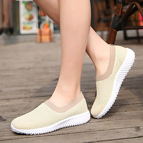 Fitness Trainer Sport Breathable Beige Athletic Running Shoes Womens ODEMA Sneaker Flat Knit IYOwU