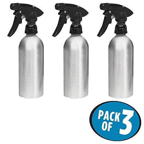 mDesign Rustproof Aluminum Spray Bottles, Trigger - Pack of 3, 12-oz., Brushed/Black