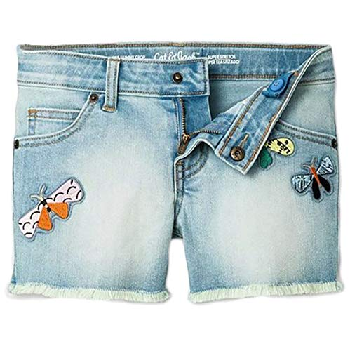 Cat & Jack Girl's Faded Denim Butterfly Patches Super Stretch Shorts (Large) from Cat & Jack