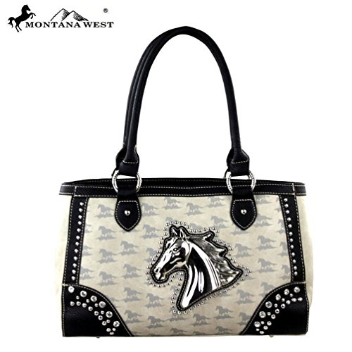 Montana West MW249-8394 Horse Collection Handbag-Beige