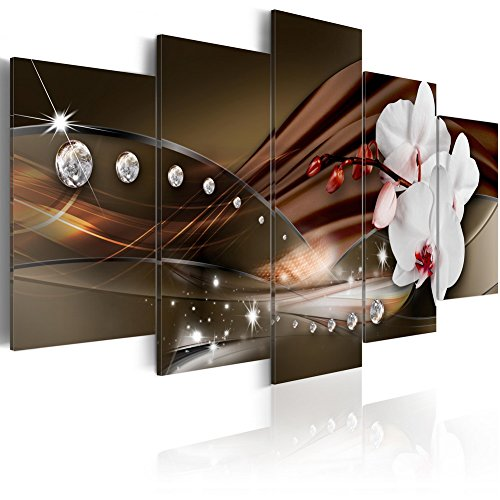 Brown Art Decor (Modern Canvas Print Art Wall Picture 5 panels Flower White Orchid Floral Painting Contemporary Diamond Brown Decor Artwork Framed and Stretched ( 40