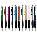 SyPen 2-in-1 Capacitive Touch Screen with Stylus Ballpoint Pen, Assorted Metallic, 12 Pack