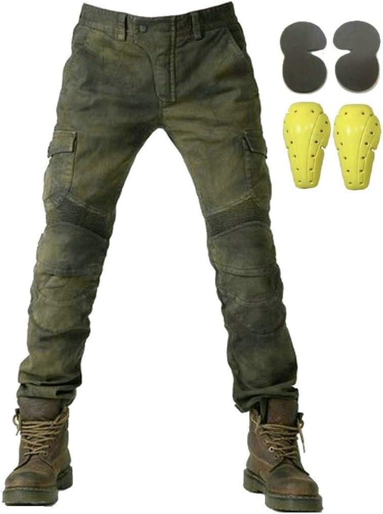 Hombre Motocicleta Pantalones Moto Jeans Con Motorcycle Biker Pants Verde del ejército (L- (Waist 34.5