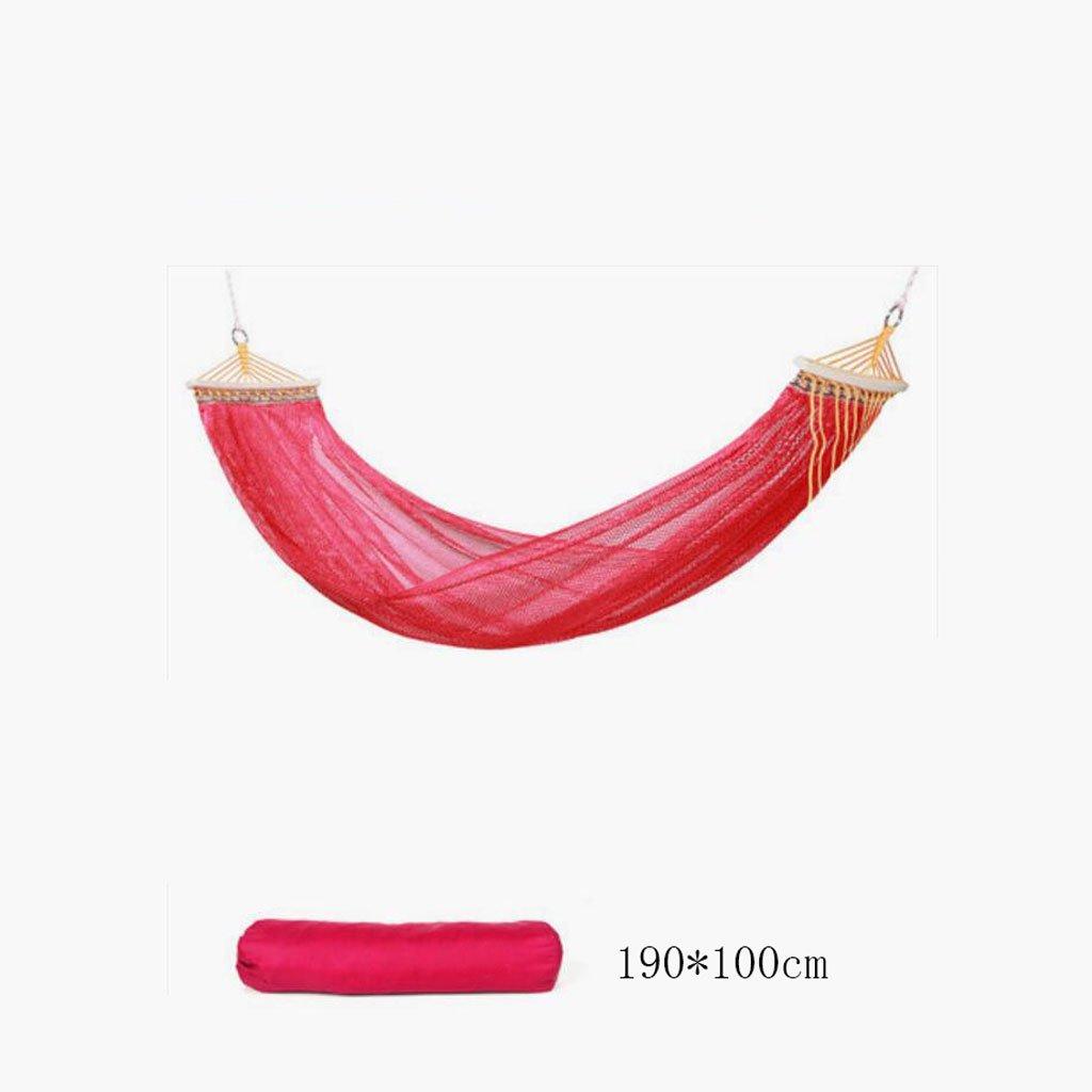 Hängematte Outdoor Hängematte Camping Camping Schaukel Hängematte Bergsteigen Hängematte rote Mesh Polyester Hängematte tragbare Hängematte (Aufbewahrungsbeutel  1), (190  100cm)