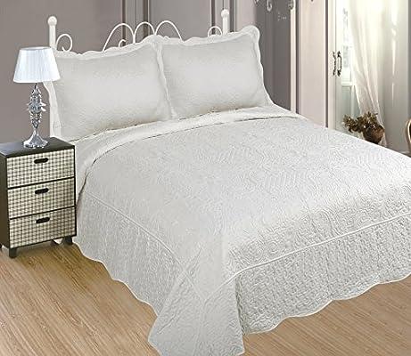 ForenTex - Colcha bouti, (PL-2602), cama 150 cm, 240 x 260cm, + 2 fundas cojines, Blanca,