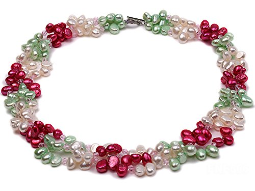 (JYX Pearl Three-Strand White, Red and Green Freshwater Pearl Necklace Dotted with Pink Quartz Beads for Women 19