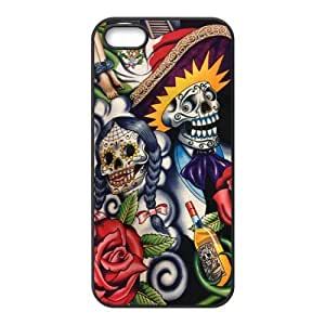 Sugar Skull Day of the Dead Hard Rubber Phone Cover Case for iPhone 5,5S Cases
