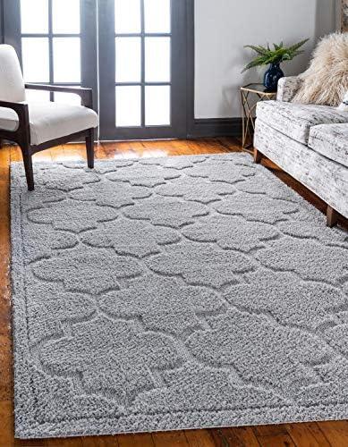 Unique Loom Trellis Shag Collection Plush Geometric Modern Moroccan Lattice Gray Area Rug 9' 0 x 12' 0