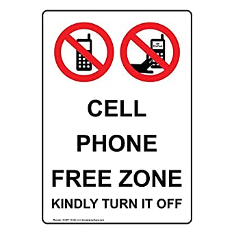 compliancesigns vertical aluminum cell phone free zone kindly turn it off sign 14 x. Black Bedroom Furniture Sets. Home Design Ideas