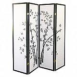 Magshion Oriental Room Divider Hardwood Shoji Screen (4 Panel Bamboo-black)