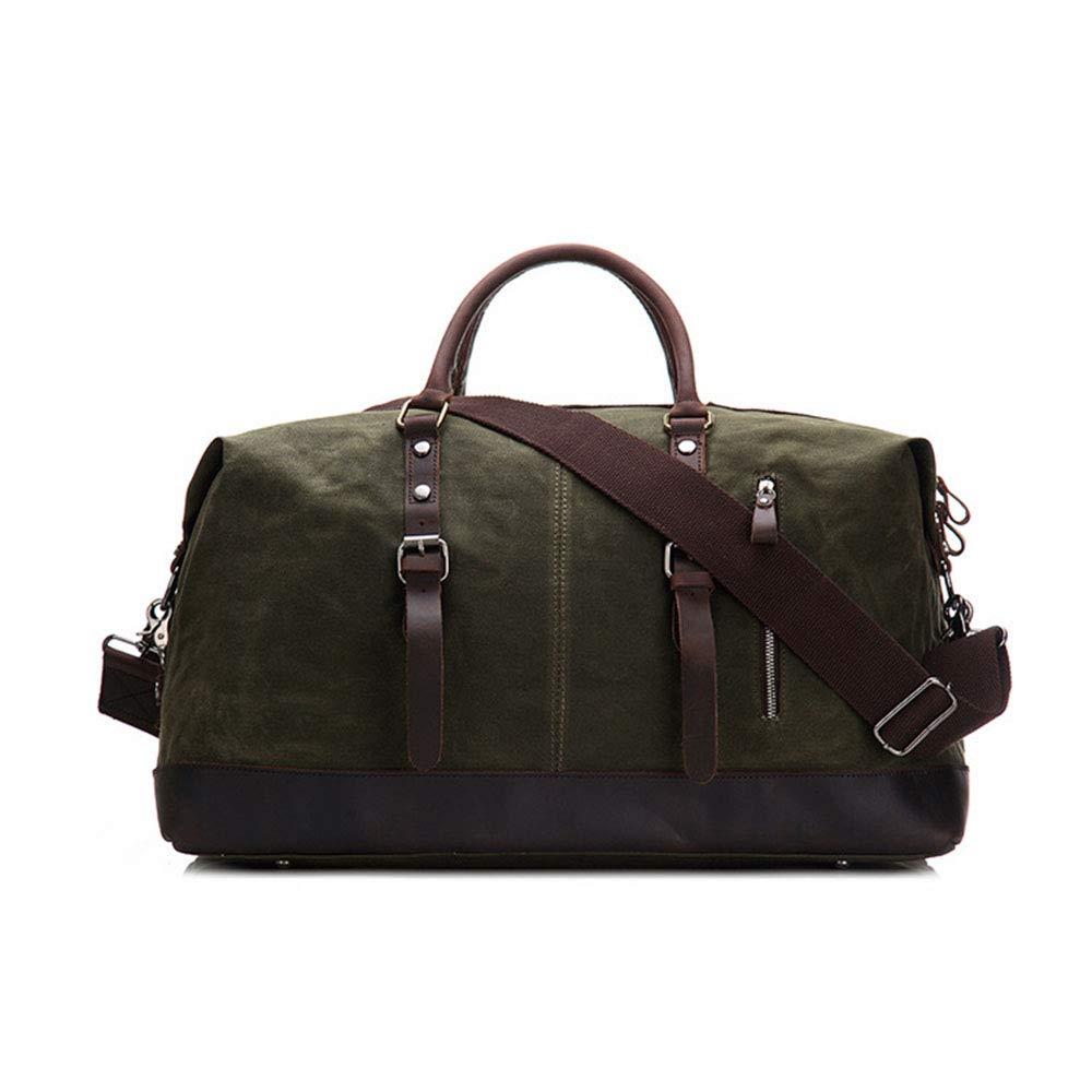 GLJJQMY 男性用と女性用のワックスキャンバススプラッシュプルーフトラベルバッグ付き22インチバッグ、54 x 23 x 33cm トラベルバッグ (色 : アーミーグリーン)  アーミーグリーン B07M84MTQM