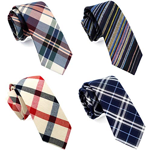 (Casual Skinny Neckties for Men 2 1/2 Cotton Slim tie Plaid/Stripe/Floral TG-007)