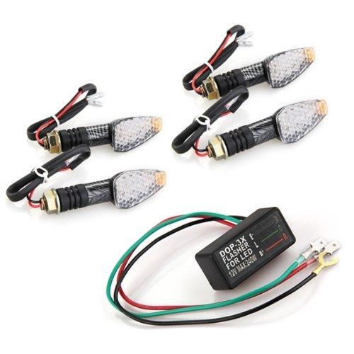 SODIAL(R) 4xueWue0 LED Motorrad Blinker Lichter Signallicht Quad Roller Gelb mit Relais