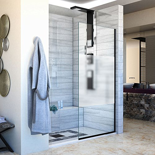 Shower Panel Design (DreamLine D3234721F03-09 Linea Single Panel Frameless Shower Screen 34 in. W x 72 in. H, Frosted Privacy Band Glass, Satin Black)