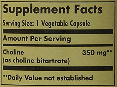 Solgar Choline Vegetable Capsules, 350 mg, 100 Count