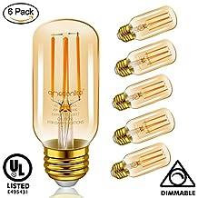 Emotionlite E26 LED Light Bulbs, Amber Glow, Dimmable Vintage Edison Bulb, Retro Bulb, 4W (40W Equivalent), 300LM, 2200K, Tubular, 6 Pack
