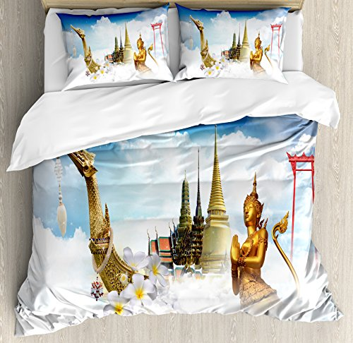 Asian Duvet Cover Set by Ambesonne, Collection of Asian Meditation Icons Elements over Clouds Yoga Yin Yang Image, 3 Piece Bedding Set with Pillow Shams, King Size, Golden Black White (Yin Yang Outdoor Furniture)