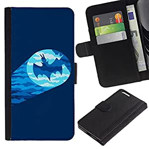 A-type (Signal Bat Character Comic Cartoon) Colorida Impresión Funda Cuero Monedero Caja Bolsa Cubierta Caja Piel Card Slots Para Apple (5.5 inches!!!) iPhone 6+ Plus / 6S+ Plus