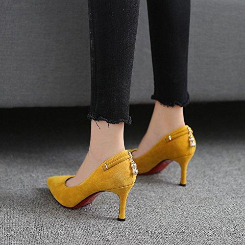 Aisun Damen Klassisch Spitz Zehen Low Top Stiletto High Heel Pumps Mit Anhänger Gelb