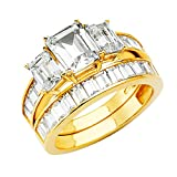 14k Yellow Gold SOLID Wedding Engagement Ring and Wedding Band 2 Piece Set - Size 8