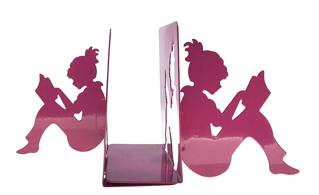 Arsdoll 3D Paper-cut Little Girl Is Reading Shape Heavy Duty Nonskid Iron Metal Bookend Decorative Book Holder Organizer For Office School Library Home Study Decoration Gift (Rose Red)