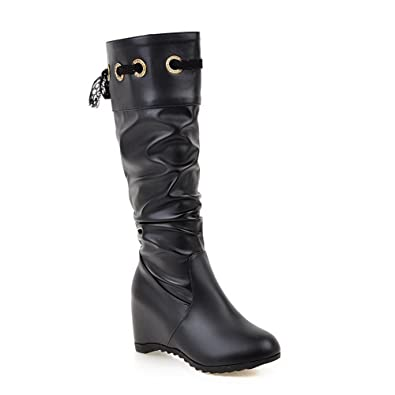 Womens Flatform Heighten Inside Ruched Pull-On Round-Toe Urethane Boots ABL09679