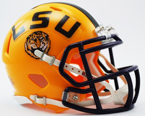 LSU Tigers Yellow Riddell Speed Mini Football Helmet - Lsu Helmet Decal
