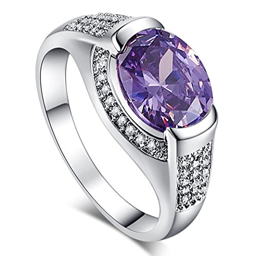 (Veunora 925 Sterling Silver Created Amethyst and White Topaz Filled Gorgeous Ring for Women Size 10)