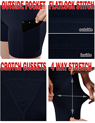ODODOS High Waist Out Pocket Yoga Short Tummy Control Workout Running Athletic Non See-Through Yoga Shorts,Navy,Medium