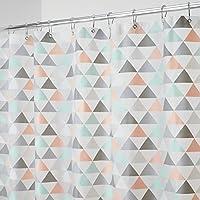 mDesign rideau de douche moderne avec motif en triangle ? rideau salle de bain idéal ? rideau baignoire durable et résistant à la moisissure ? corail/menthe