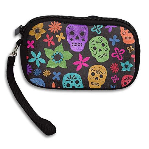 Coin Purse Halloween Wallpaper Skull Zipper Wallet Mini Wristlet Cash Phone Holder Change Pouch -