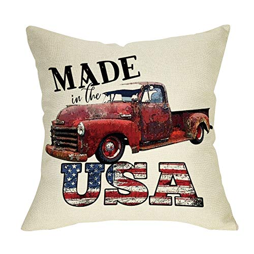 Ussap Made in The USA July 4th Patriotic Decoration Farmhouse Decorative Throw Pillow Cover Cushion Case for Sofa Couch Vintage Red Truck Sign Home Decor Cotton Linen 18