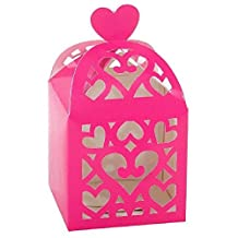 "Functional Lantern Favour Box Wedding Party Gift and Treats Accessory, Bright Pink, 2"", Pack of 50."