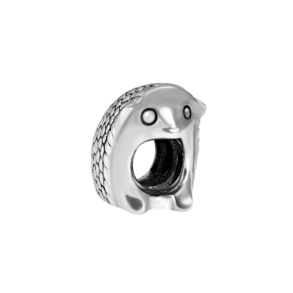 Quiges 925 Sterling Silver 3D Hedgehog Animal Bead Charm NZ147