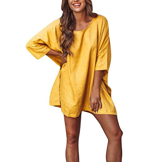 2d606242a Kangma Women Solid Oversized Casual Long Sleeved Split Irregular Hem O-Neck Top  Blouse Yellow at Amazon Women's Clothing store: