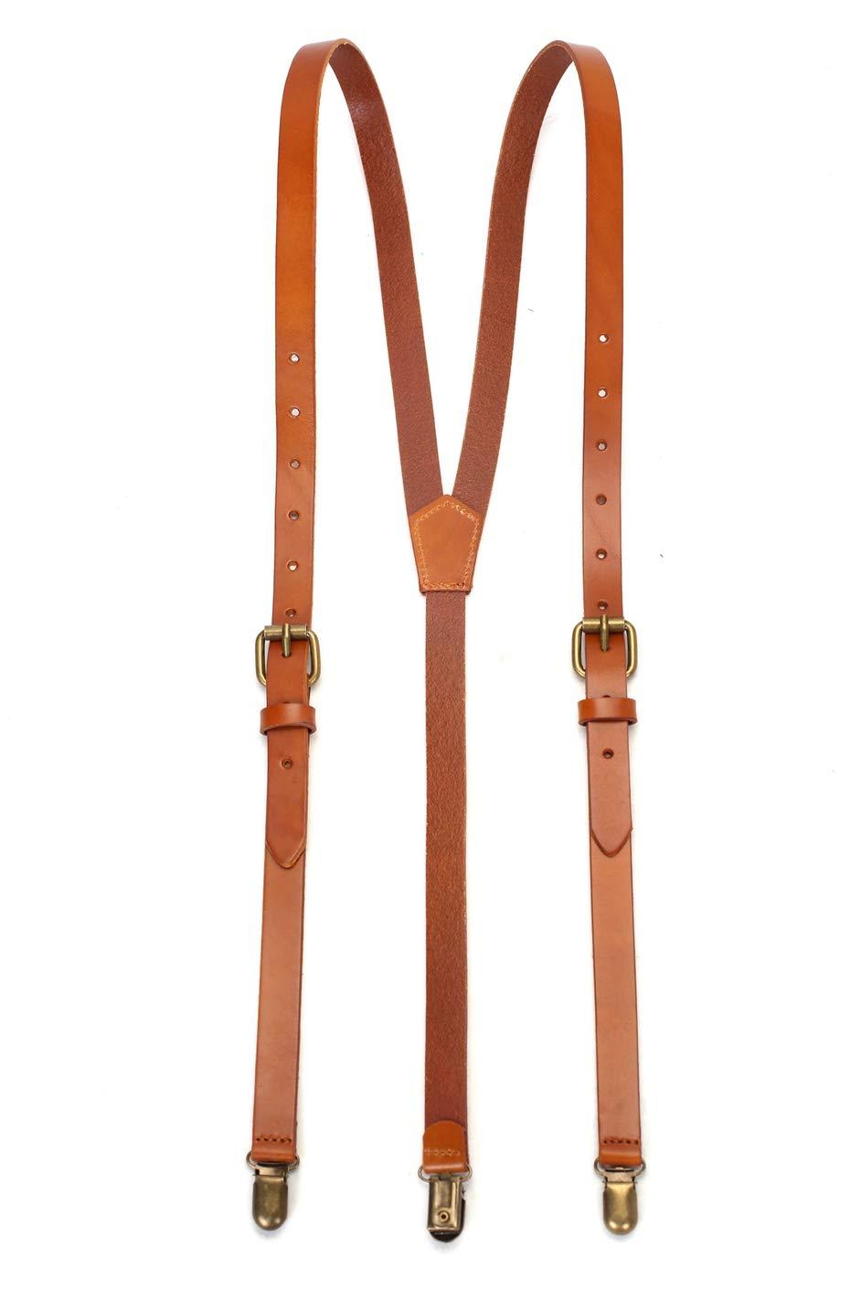 ROCKCOW Genuine Leather Suspenders/Groomsman Wedding Suspenders for Wedding & Party