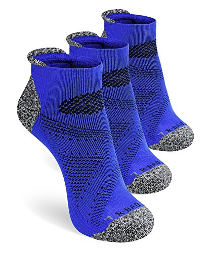 SWOLF Athletic Low Cut Ankle Compression Socks for Women & Men, Quarter Crew Socks Moisture Wicking No Blister Padded Cushion Arch Support - Anklet Socks for Running Workout Training(Blue-3 Pair) ()