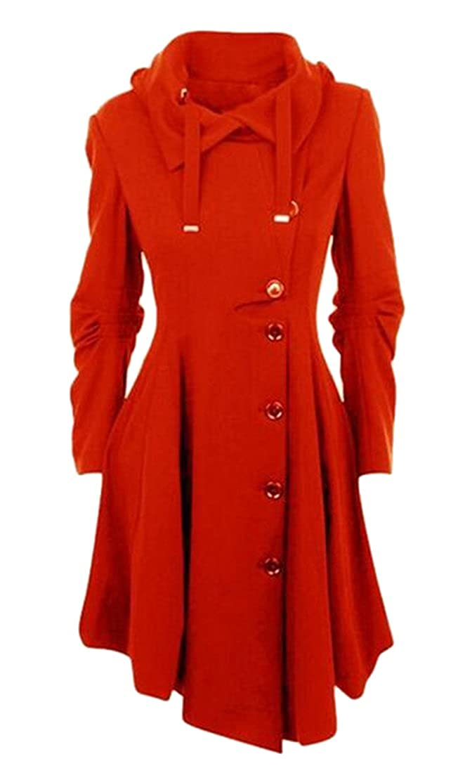 Jofemuho Women's Single Breasted High Low Casual Ruched Plus Size Trench Coat Jacket