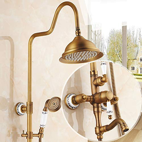 K Hlluya Professional Sink Mixer Tap Kitchen Faucet Antique faucets shower kit full copper Bathroom Wall Mounted showers, hot and cold shower faucet shower,F