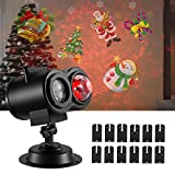 Fitfirst Halloween Light Projector, 2 IN 1 Ripple Ocean Light with 12 Slides Patterns, Waterproof Outdoor/Indoor Landscape Decoration Lighting for Christmas, Halloween, Birthday Party