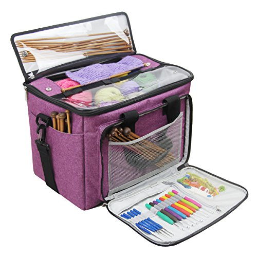 """Knitting Bag,Yarn Tote Organizer with Inner Divider for Crochet Hooks, Knitting Needles(up to 14""""),Project and Supplies,Easy to Carry,High Capacity (Purple) by BENGDA (Image #1)"""
