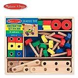 Melissa & Doug Wooden Construction Building Set in a Box (Developmental Toy, 48 Pieces)