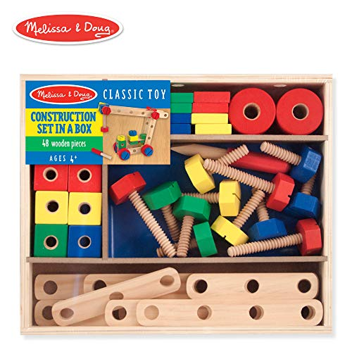 Melissa & Doug Wooden Construction Building Set in a Box (Developmental Toy, 48 Pieces)