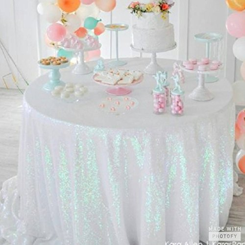 ShinyBeauty Sequin Tablecloth-Iridescent White-48Inch Round Sparkle Tablecloth,Glitter Table Cloth,Sequin Wedding (Sparkle Tablecloth)