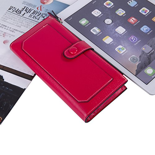 Baellerry Women Soft Leather Long Wallet Large Capacity Cluth Ladies Purse Card Holder (red) by Baellerry (Image #7)