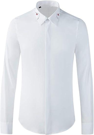 Camisa de Manga Larga para Hombre Fashion Camisa Ajustada ...