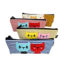 iSuperb Pencil Case 4PCS Differently-colored Cute Kitten Triangle Shaped Pouches Canvas Stationary Bag Pouch for Students Girls Boys (4 Packs Cute Kitten Pencil Case)